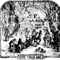 An illustration of people collecting a yule log from Chambers Book of Days (1832